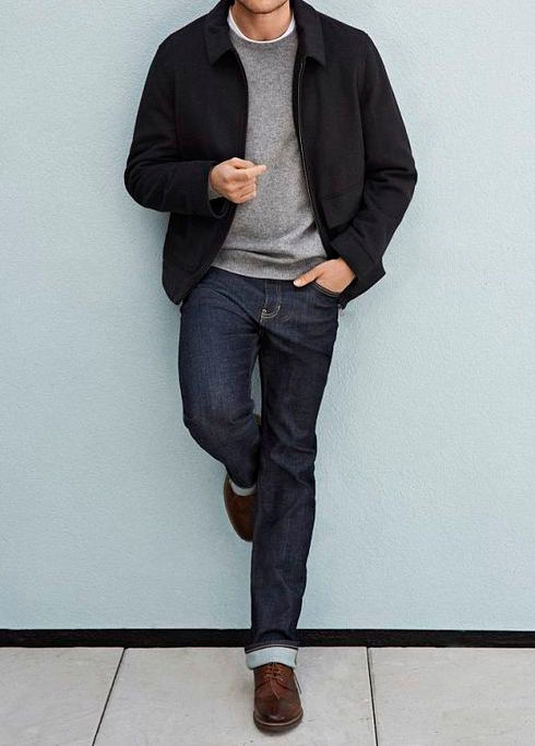 Men's outfit idea for 2021 with navy harrington jacket, gray crew neck knitted sweater, white crew neck t-shirt, dark blue jeans, oxford / derby shoes. Suitable for spring, fall and winter.
