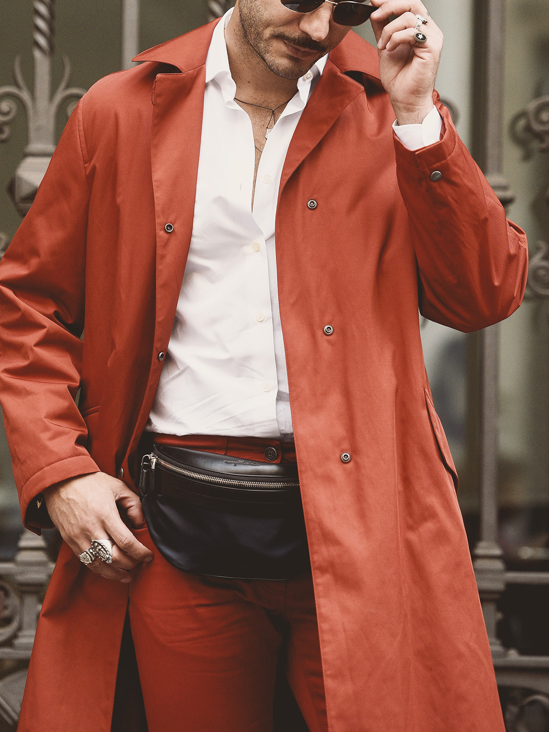 Men's outfit idea for 2021 with red utility jacket, white plain formal shirt, red chinos. Suitable for spring and autumn.
