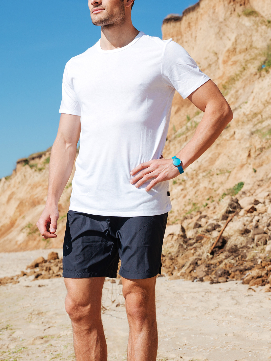 Men's outfit idea for 2021 with white crew neck t-shirt, navy swimwears, navy espadrilles. Suitable for summer.