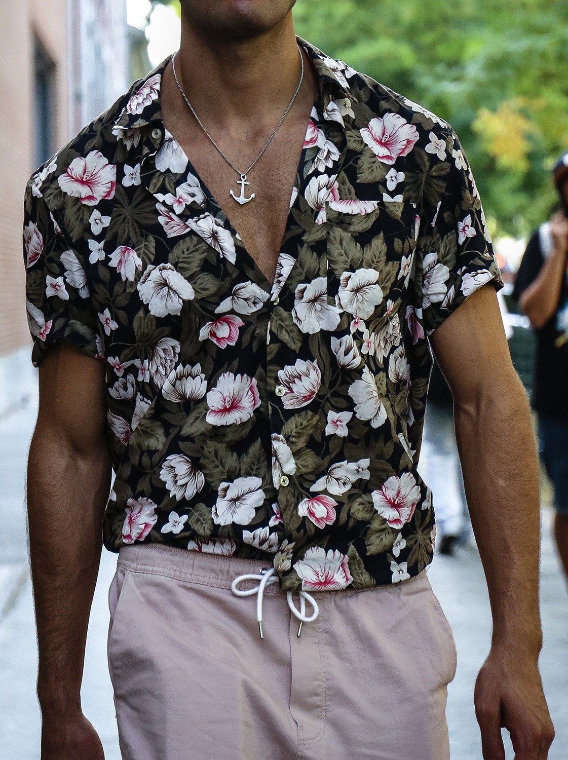 Men's outfit idea for 2021 with stone shorts, neutral espadrilles. Suitable for spring and summer.