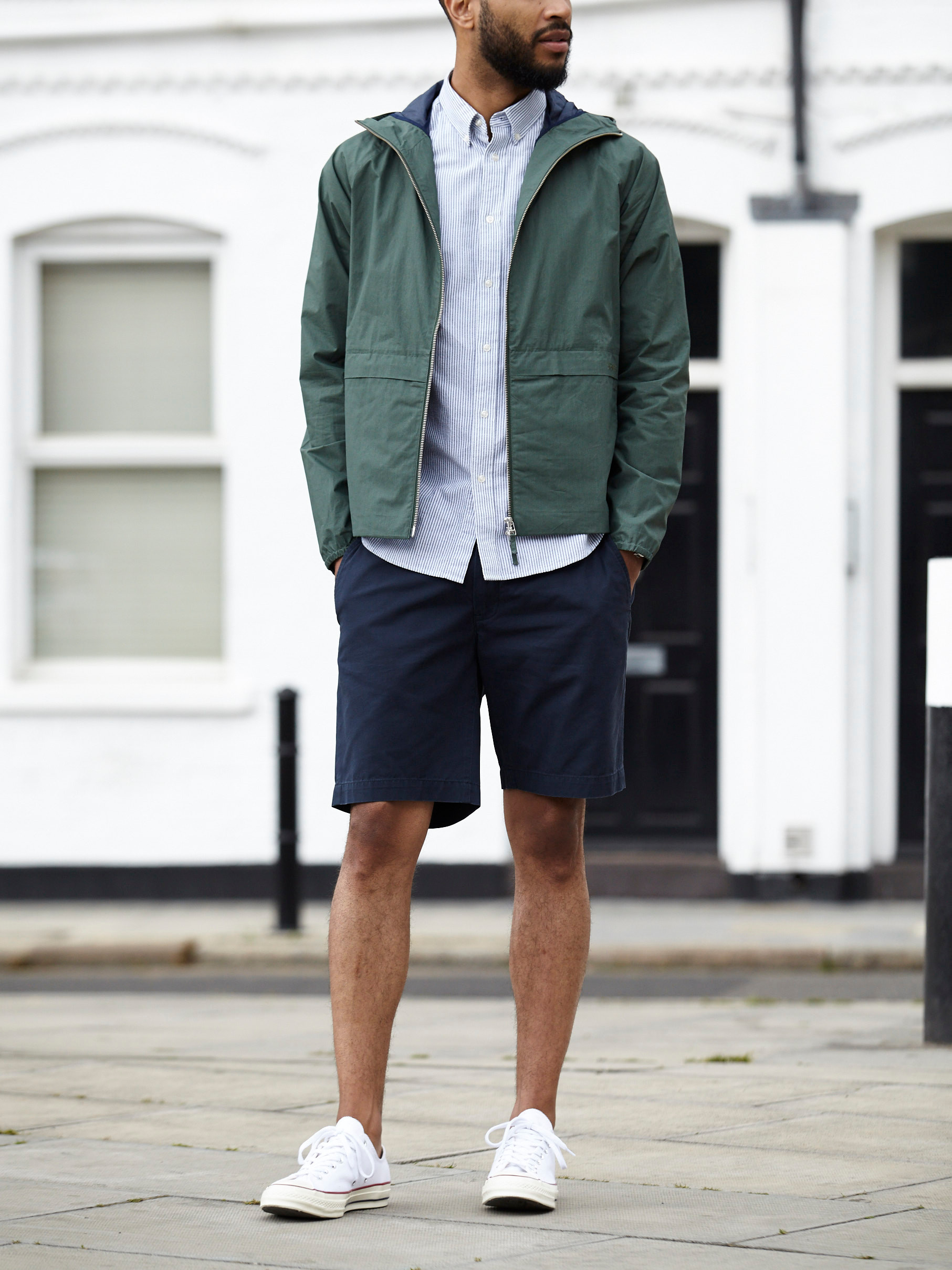 Men's outfit idea for 2021 with waterproof jacket / windbreaker, striped casual shirt, navy shorts, converse. Suitable for spring and summer.