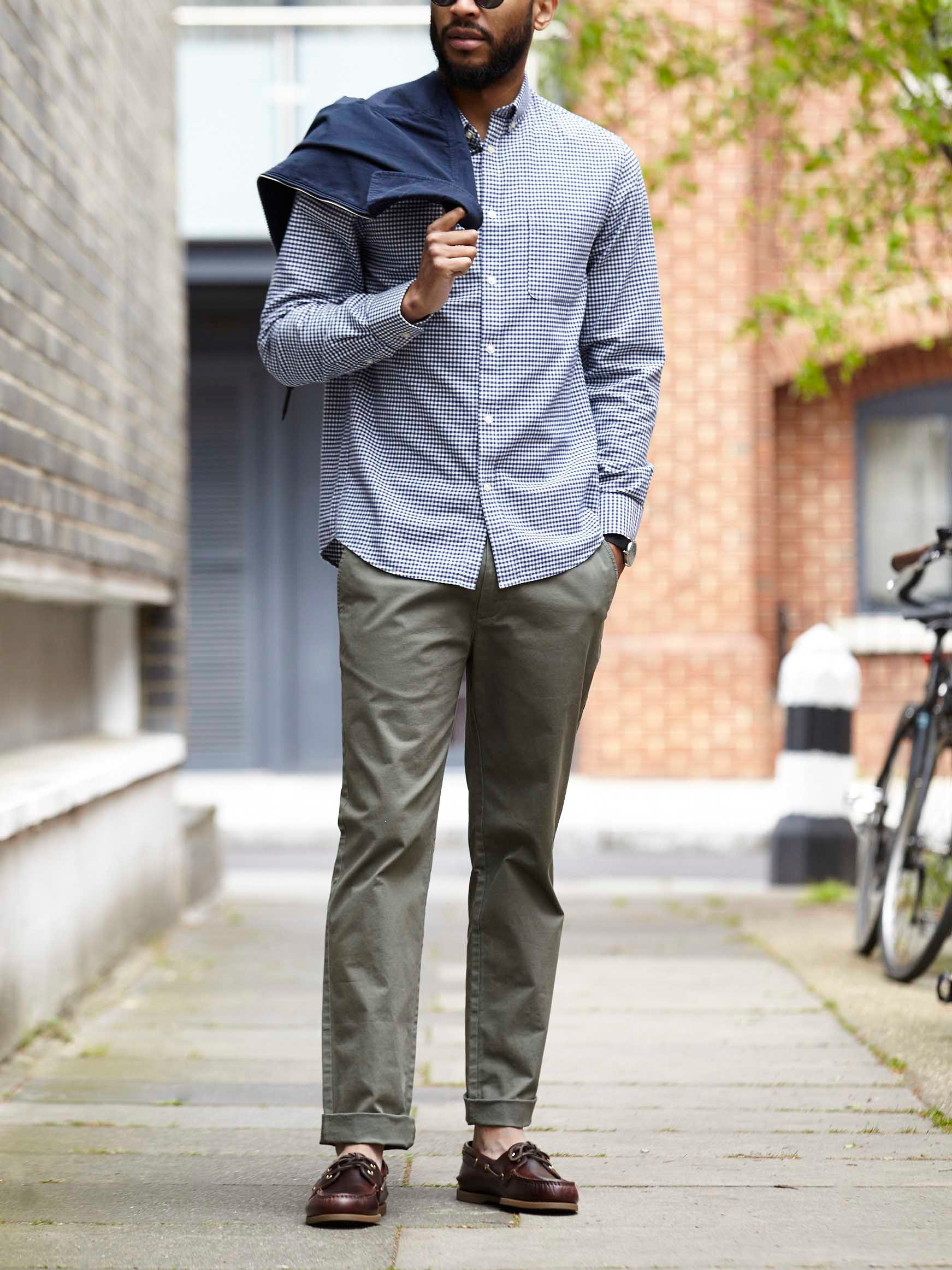 Men's outfit idea for 2021 with harrington jacket, micro plaid casual shirt, colored chinos, canvas strap watch, boat shoes. Suitable for spring, summer and fall.