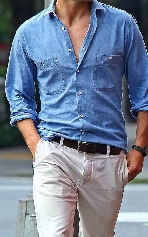Men's outfit idea for 2021 with denim shirt, stone chinos, brown casual belt, boat shoes. Suitable for spring and summer.