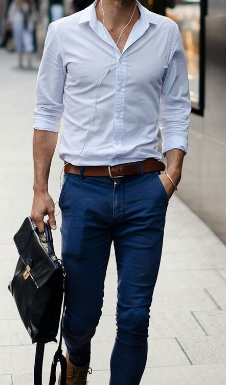 Men's outfit idea for 2021 with blue dress shirt, navy chinos, briefcase, oxford / derby shoes. Suitable for spring and summer.