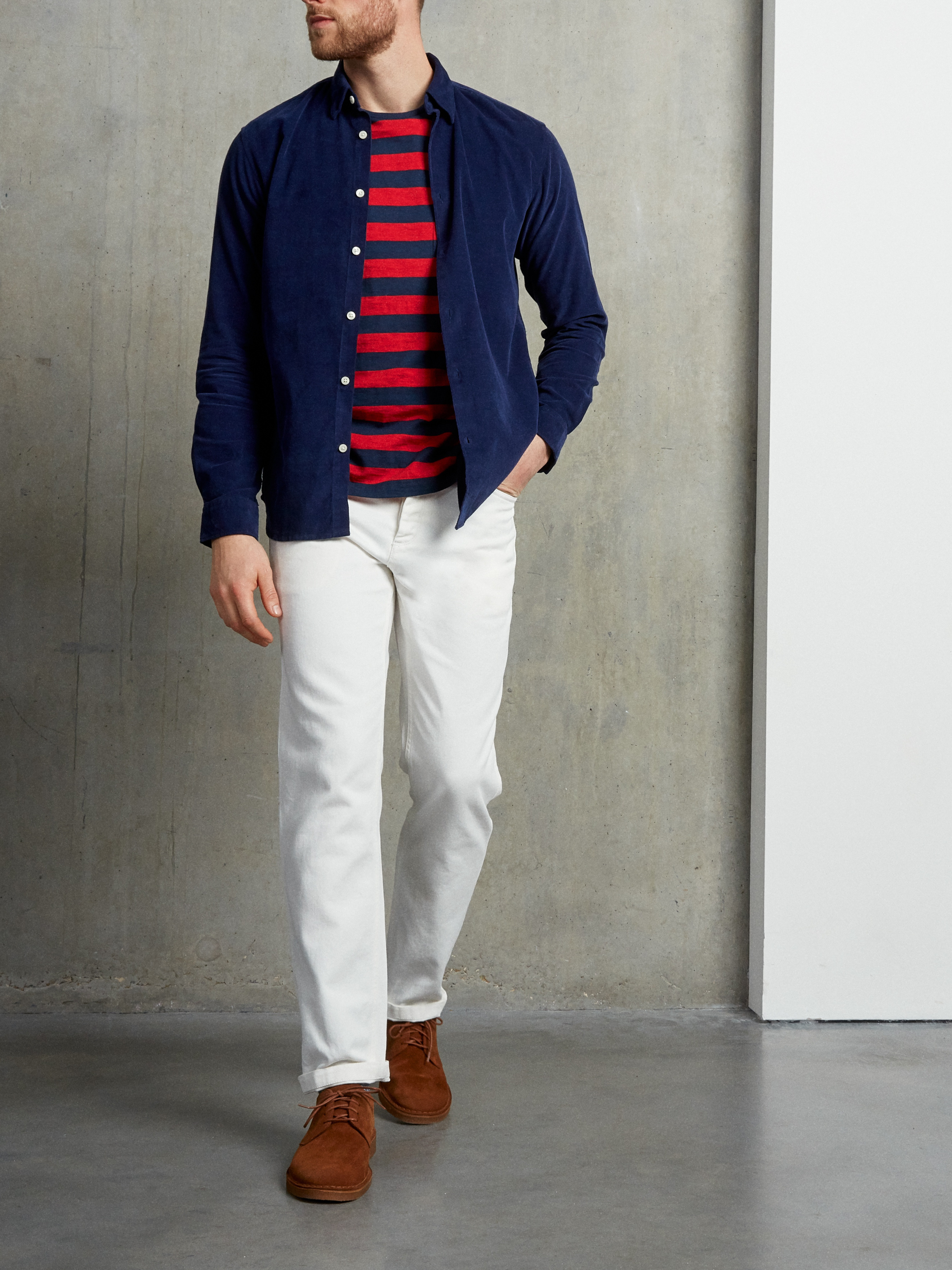 Men's outfit idea for 2021 with navy casual shirt, striped crew neck t-shirt, suede shoes / desert shoes. Suitable for spring, summer and fall.
