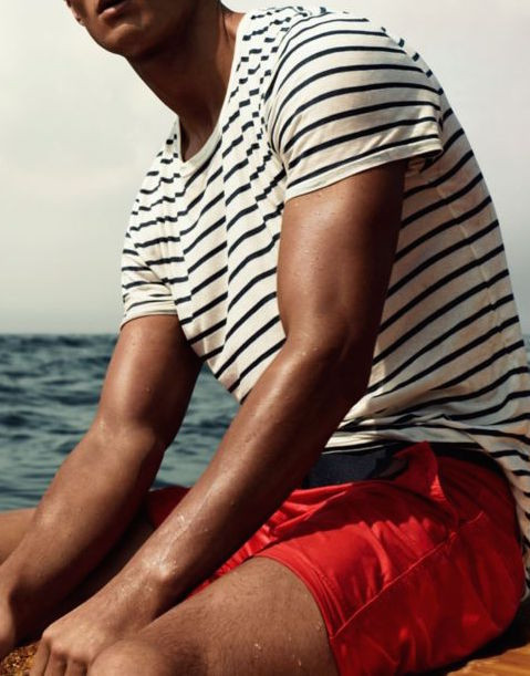 Men's outfit idea for 2021 with striped crew neck t-shirt, swimwear, tortoiseshell sunglasses, flipflops. Suitable for summer.