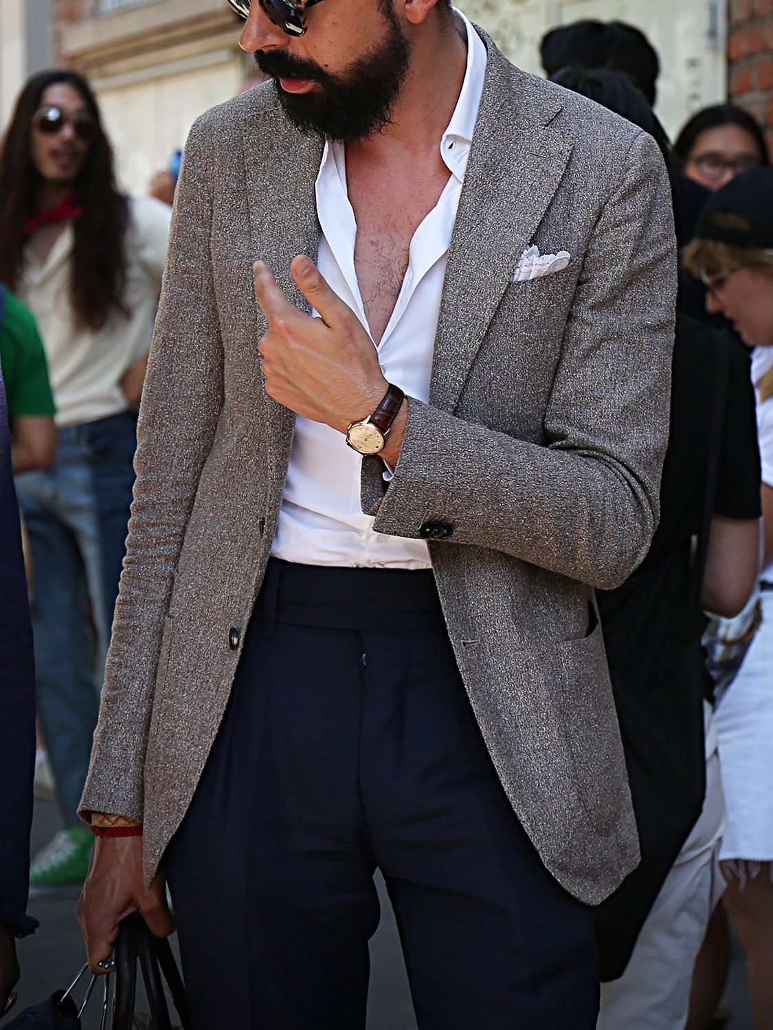 Men's outfit idea for 2021 with grey blazer, white plain formal shirt, navy plain formal trousers, black loafers. Suitable for spring and autumn.