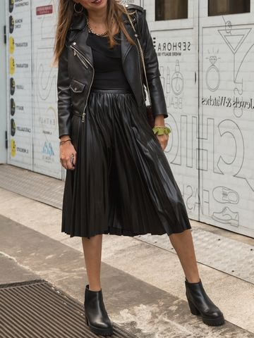 Women's outfit idea for 2021 with black leather jacket, black tops & tshirt, black skirt, black ankle boots. Suitable for spring, autumn and winter.