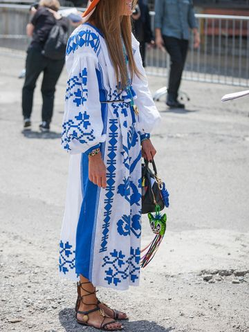 Women's outfit idea for 2021 with blue dress, brown flat sandals. Suitable for summer.