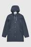 Stockholm Rubberised Cotton Raincoat in Navy