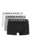 Triple Pack Of Trunks In Stretch Cotton in Black, White and Grey