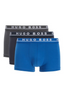 Triple Pack Of Trunks In Stretch Cotton in Grey, Navy and Blue