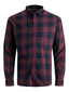 Gingham Twill Checked Shirt in Red and Navy