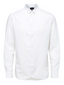 Slim Fit Linen Cotton Long Sleeve Shirt in White