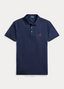 Slim Fit Stretch Mesh Polo Shirt in Navy